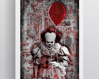 Pennywise the Clown Poster, Pennywise the Clown Multi-Colored Pop Art Gift, Pennywise the Clown Fine Art, IT, IT Pop Art, IT Poster