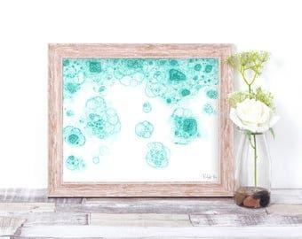 Bubble Rain, Teal, illustration, Bubble Art, print, home decor