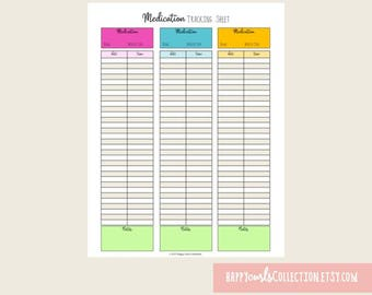 Medication Tracking Sheet {Organization Sheet} Instant Download // 8.5x11