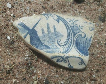 vintage pottery sea worn shard with a windmill on frount genuine surf tumbled beach find.sea pottery find.