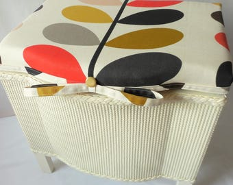 Vintage, Lloyd loom linen basket with Orla Kiely fabric