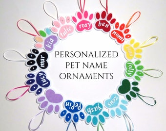 FREE S/H!! Custom felt pet ornaments. Personalized dog cat animal Christmas present or gift. Your choice of name, color and crystal option.