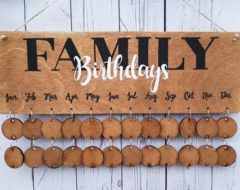 Family birthday plaque, family birthdays, birthday organiser, wooden calendar, special dates, mother's day gift, family birthday reminder