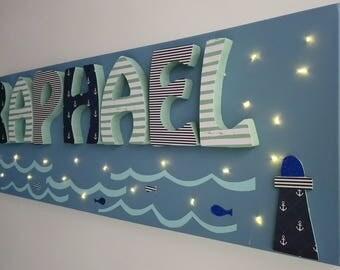Light canvas - decorated name - sailor theme