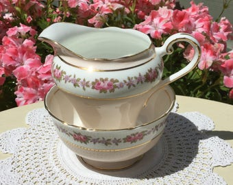 Jug & Sugar Bowl ~ Aynsley fine bone china cream jug and sugar bowl. C1940s