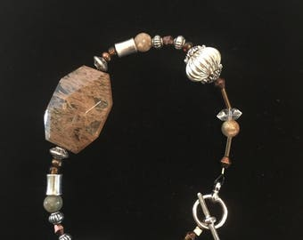 Brown Stone Beaded Bracelet