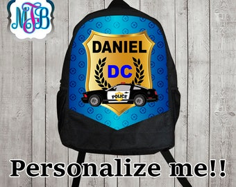 Personalized police car backpack/police car backpack / monogrammed backpack/school backpack/Personalized backpack/ B22