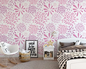 Flower-works Pastel Pink Peel and Stick Wallpaper