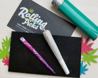 Rolling Picks (Purple) - Joint Rolling Tool - Marijuana Cannabis Weed Stocking Stuffer Accessories Paraphernalia Stoner Gift