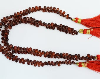 Natural Garnet Faceted Tear Drop Beads  / 3x5 mm /4 inch