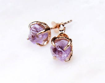 3 PAIRS @ 15% OFF: Rose Gold Amethyst Earrings. Bridesmaid Gift. Wedding. Bridal Jewelry.