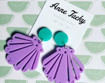 MERMIAD SHELL earrings laser cut acrylic lilac & turquoise shells dangle earrings tacky seashells  festival