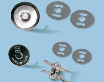 TRENDYBag-pocket magnetic clasp, silver metal, Ø 18 mm