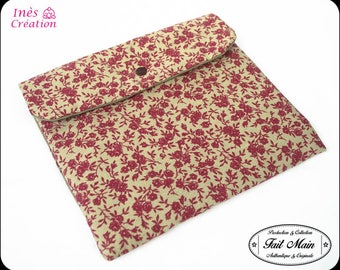 """Cover Tablet 10 """"Plaid cotton canvas and fabric flowers Burgundy spirit campaign"""