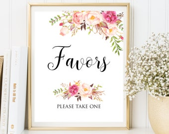 Favors Wedding Sign,Floral favors, Wedding Favors Sign, Favors Please Take One Sign, Printable Favors Sign, Printable Wedding Favors Sign