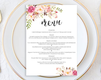 Menu Printable Template, Wedding Menu Card, Wedding Menu Template, Menu Template, Editable Menu Template, Menu Printable Wedding, 5x7 menu