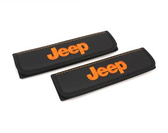 Jeep accessories interior 2 pcs. Leather Car Seat Belt Shoulder. Jeep wrangler Seat Strap Covers, Padded Strap Covers.