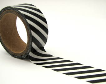 Washi tape - 15 mm - black and white stripes