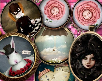 FANTAISIE  **  Digital Collage Sheet Printable Instant Download for art jewelry scrapbooking bottle caps magnets pins