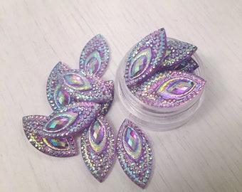 Beautiful purple peacock sparkly gems