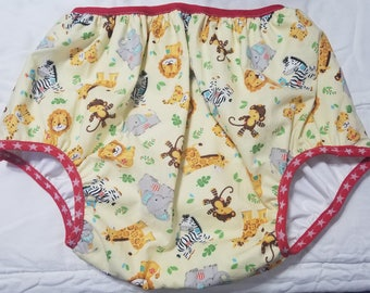 Adult Baby Diaper Cover Plastic Pants Jungle Animals Print ABDL