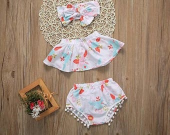 3 piece set , baby girl summer outfit
