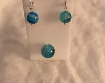Blue onyx illusion necklace and dangle earrings leverback clasps 925