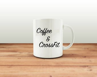 Coffee & CrossFit Mug, novelty gift mug, crossfit mug, coffee lover, gift for her, gift for him, crossfit mad, both sides print, present