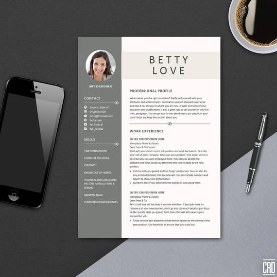 resume template instant download best cv template cover