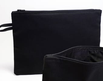 Black cotton canvas bag (lining: black)