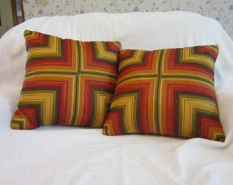 Mitered Stripes in Red, Orange, Yellow, Green Burgundy
