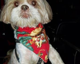 Santa Hawaiian Vacation Over the Collar Dog Bandana