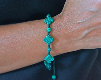 Bracelet adjustable thread with Malachite flower woman