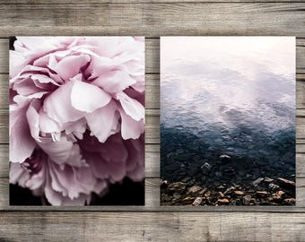 Peony Print, Pink Peony Photography Download, Peony Art Print, Coastal Photography Download, Beach Print Beach Photography Print Art Set
