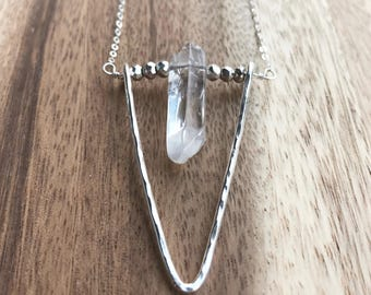 Long Quartz Silver Necklace, Long Crystal Necklace, Quartz Triangle Necklace, Crystal Necklace, Quartz Silver Necklace
