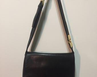 Black Leather shoulder Flap Bag