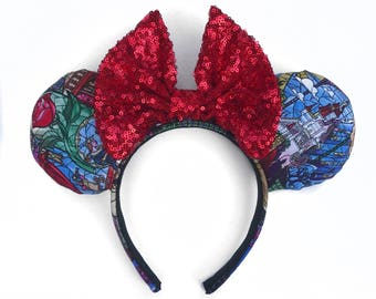 Stained glass ears , beauty and the beast ears, mouse ears