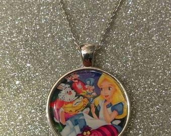 Round Necklace Pendant Keyring Key Ring Alice in Wonderland