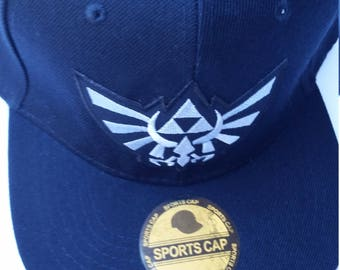 Legend of Zelda Snapback Hat with a silver Hyrule Triforce Patch (FREE SHIPPING!!)