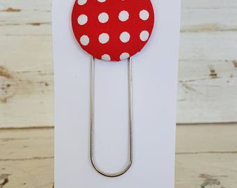 Bookmark - Red and White Polka Dot Design - Button Bookmark - Paperclip Bookmark - Book accessories - Giant Paperclip Bookmark