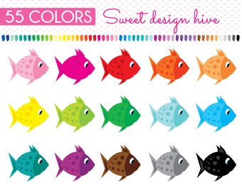 Fish Clipart, Fishes Clip Art, Planner Stickers, scrapbooking, Commercial Use, PL0057