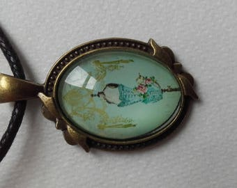 Fancy long baroque cabochon necklace