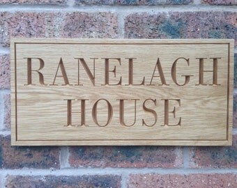 Wooden Oak House Sign, House Number, Engraved Sign, Outdoor Sign, Custom House Sign, House Name Plate, House Name sign, House sign, Number