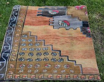3.4 x 3.7 feet Small Size Bohemian Decorative Rug Free Shipping Vintage Decorative Turkish Rug  Oushak Rug Nomadic Rug Tribal Rug DC629