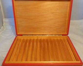 Vintage ! Harrods ! of London Cigar Humidor, red leather smokers/ smoking case