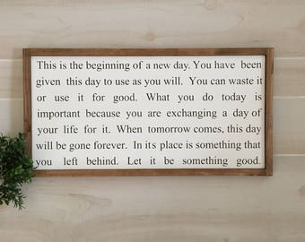 This is the beginning of a new day wooden sign /  farmhouse sign / inspirational sign / wedding gift