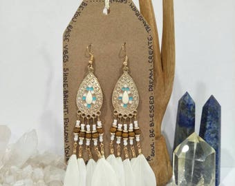 50% OFF - White & Gold Feather Chandelier Earrings / Boho