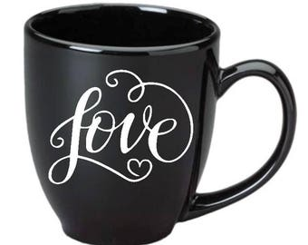 Love with swirls and heart Vinyl Decal