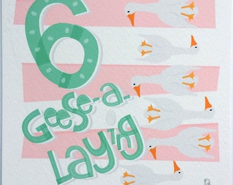 Six Geese A-Laying Hand-lettered Print