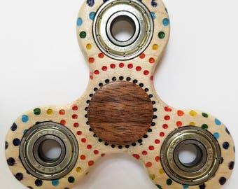 Executive Wood Fidget Spinner - Rainbow Dot Burst